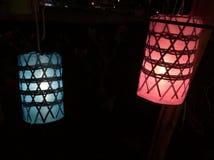 Luz azul y roja, lámpara de Lana Foto de archivo