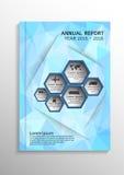 Luz - baixo fundo poligonal azul Cubra a disposição do molde do projeto no tamanho A4 para o informe anual, folheto, inseto, illu Imagens de Stock