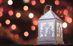 Luz blanca de la linterna de la Navidad Imagenes de archivo