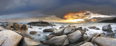 Luz bonita do panorama antes do por do sol no rayon do khao do hin do lan Foto de Stock Royalty Free