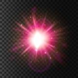Luz brillante de la estrella Efecto chispeante de la llamarada de la lente stock de ilustración