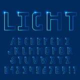 Luz brillante, fuente de neón Letras mayúsculas stock de ilustración