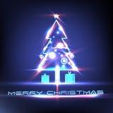 Luz brillante simple del árbol de navidad aislada en fondo Fotografía de archivo libre de regalías