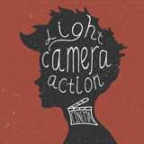 ¡Luz, cámara, acción! El poner letras Imagen de archivo libre de regalías