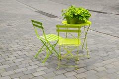 Luz - cadeiras de jardim verdes e uma tabela de dobradura com um flowe verde fotos de stock