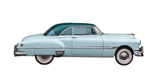 Luz - carro retro azul isolado imagens de stock royalty free