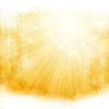 Luz chispeante de oro abstracta repartida con las estrellas ilustración del vector