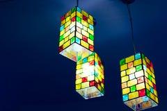 Luz colorida na obscuridade - azul Imagens de Stock Royalty Free