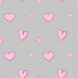 Luz - corações cor-de-rosa no teste padrão sem emenda do fundo cinzento Imagens de Stock