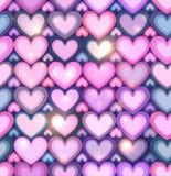 Luz - corações cor-de-rosa que brilham o teste padrão sem emenda Foto de Stock