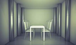 luz Czysty gościa restauracji pokój, krzesła i bielu stół nad czystym zdrojem, ilustracji