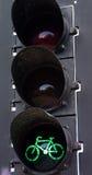 Luz da bicicleta - verde Fotografia de Stock