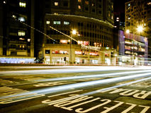 Luz da cidade da noite de Hong Kong Imagens de Stock Royalty Free