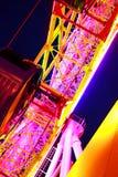 Luz da decoração da roda de Ferris na cidade imagem de stock