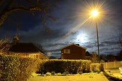 Luz da Lua cheia e de rua Fotografia de Stock