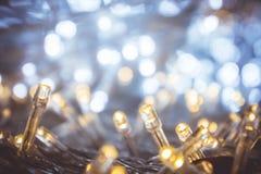 Luz da noite de Bokeh com luz pequena do diodo emissor de luz para luzes decorativas dentro Fotos de Stock