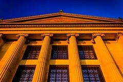 Luz da noite no museu de arte em Philadelphfia, Pensilvânia Fotografia de Stock Royalty Free