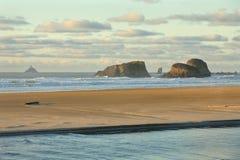 Luz da rocha de Tillamook, ressaca de Oregon Fotos de Stock Royalty Free