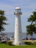 Luz de Biloxi Mississippi que olha ao Golfo do México imagem de stock