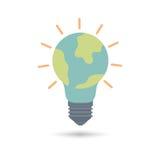 Luz de bulbo com ícone do planeta da terra Foto de Stock Royalty Free