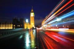 Luz de Defocus de Big Ben Imagen de archivo