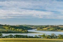 Luz de la última hora de la tarde, viaducto de Notter, río Lynher, Cornualles imagenes de archivo