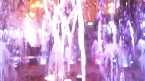 Luz de la ciudad de la noche de la fuente almacen de metraje de vídeo