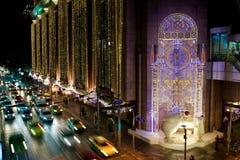 Luz de la decoración del Año Nuevo, Bangkok, Tailandia Foto de archivo libre de regalías