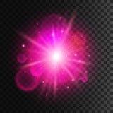 Luz de la estrella con efecto de neón rosado de la llamarada de la lente libre illustration