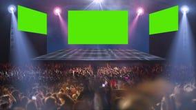 Luz de la etapa del concierto de la muchedumbre almacen de video