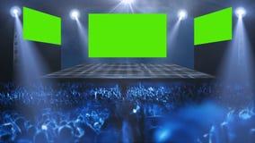Luz de la etapa del concierto de la muchedumbre stock de ilustración