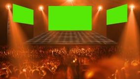 Luz de la etapa del concierto de la muchedumbre almacen de metraje de vídeo
