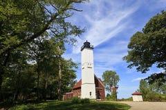 Luz de la isla de Presque en el parque de estado en Erie, Pennsylvania foto de archivo