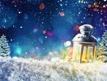 Luz de la linterna de Navidad Fotografía de archivo
