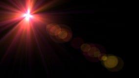 Luz de la llamarada de la lente sobre fondo negro Fácil añadir la capa Stock de ilustración