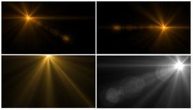 Luz de la llamarada de la lente sobre fondo negro Fácil añadir la capa Ilustración del Vector