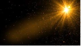 Luz de la llamarada de la lente sobre fondo negro Fácil añadir la capa o s Ilustración del Vector