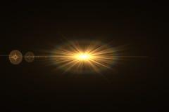 Luz de la llamarada de la lente sobre fondo negro Fácil añadir la capa o s Imagen de archivo libre de regalías