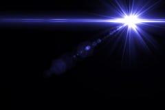 Luz de la llamarada de la lente sobre fondo negro Fácil añadir la capa o s Imagen de archivo