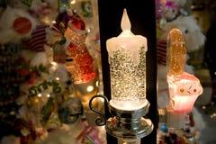 Luz de la noche de la vela de la Navidad Imágenes de archivo libres de regalías