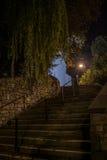 Luz de la noche para las escaleras fotografía de archivo