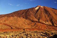 Luz de la puesta del sol sobre el parque nacional de Teide Imagen de archivo libre de regalías