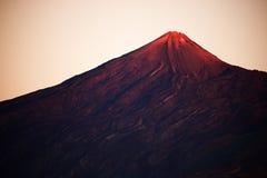 Luz de la puesta del sol sobre el parque nacional de Teide Fotos de archivo libres de regalías