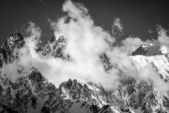 Luz de la tarde sobre Chamonix Aiguilles Fotografía de archivo