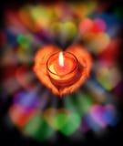 Luz de la vela con amor Imagen de archivo libre de regalías