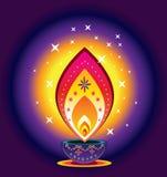 Luz de la vela de Diwali Imagen de archivo