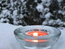 Luz de la vela en invierno Fotografía de archivo libre de regalías