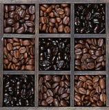 Luz de los granos de café a la carne asada oscura Imagen de archivo libre de regalías