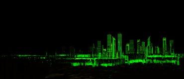 Luz de néon da cidade 3d futurista Imagem de Stock Royalty Free