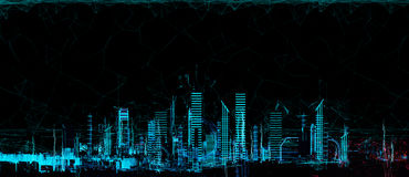 Luz de néon da cidade 3d futurista da arquitetura da cidade fotografia de stock royalty free